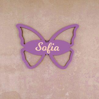 Für Kinder Individuelles Türschild aus Holz mit Schmetterling-Motiv