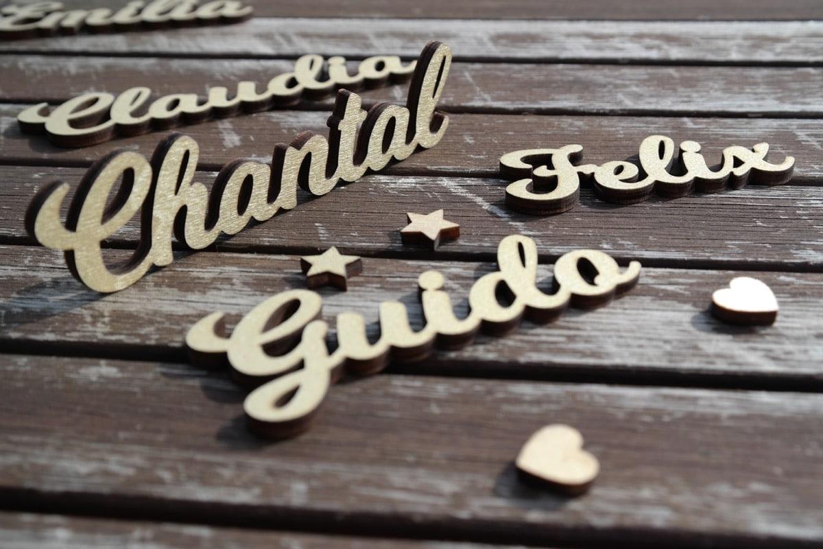 Tischkarten Holz Gold