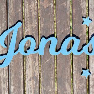 Dekoration Individueller Schriftzug aus Holz Hellblau