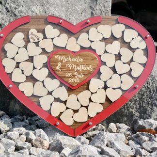Geschenke Edles Herz-Gästebuch zum Einwerfen Personalisiert – zum Aufstellen oder Aufhängen