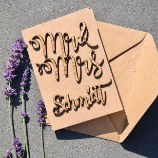 Geschenke Individuelle Geschenk-Karte zur Hochzeit mit Holz