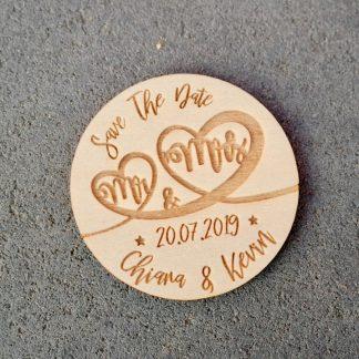 Hochzeit 5er-Set Save The Date-Karte Rund aus Holz mit Gravur Hochzeit Polterabend Kühlschrankmagnet