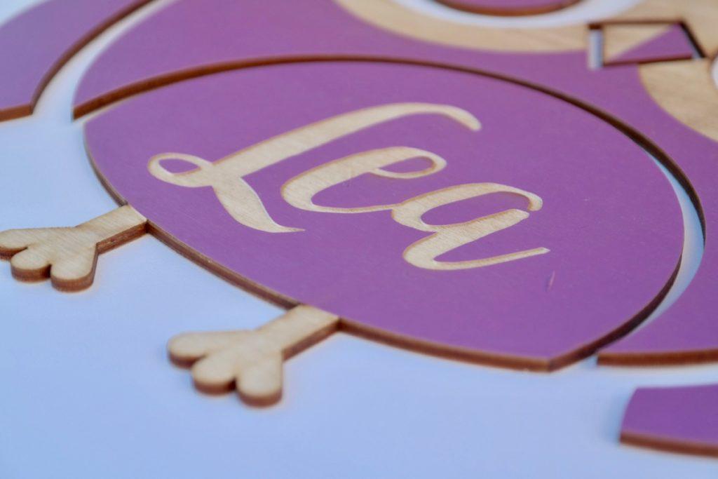 Für Kinder Individuelles Türschild aus Holz mit Eulen-Motiv