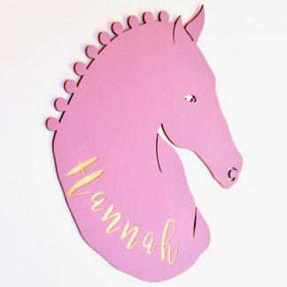 Für Kinder Individuelles Türschild aus Holz mit Pferde-Motiv