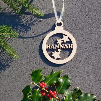 Weihnachten Weihnachtskugel mit Namen in Wunschfarbe– Kugel mit Sternen – Christbaumkugel Christbaumschmuck Weihnachtsbaumkugel