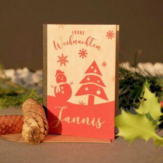 Weihnachten Weihnachtskarte aus Holz mit Namensgravur in Wunschfarbe