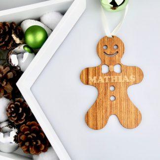 Weihnachten Weihnachtskugel mit Namen in Nussbaum – Lebkuchen-Männchen – Christbaumkugel Christbaumschmuck Weihnachtsbaumkugel
