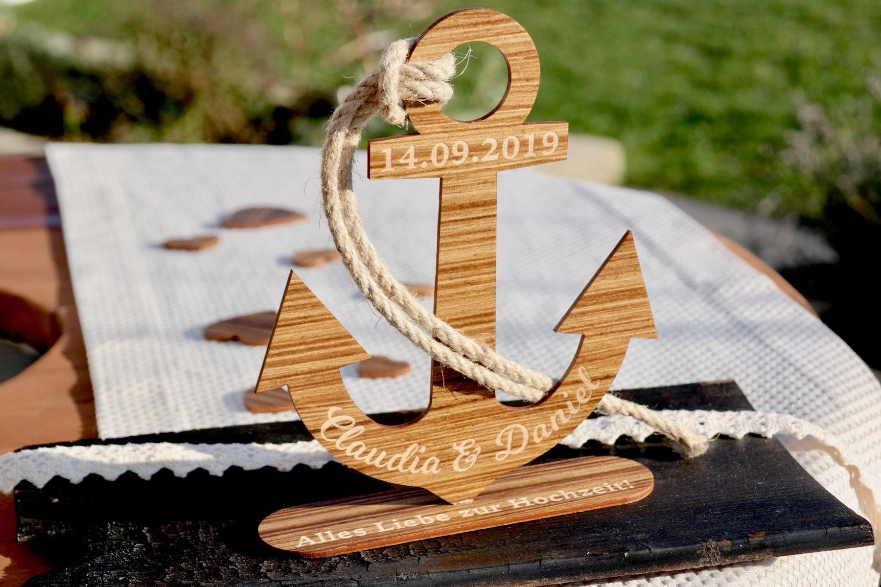 Hochzeit Geschenk Holz Anker