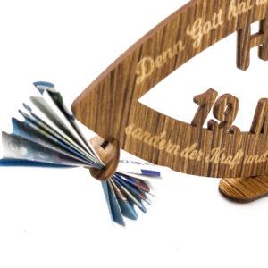 Glaube Geldgeschenk zur Kommunion / Konfirmation aus Holz