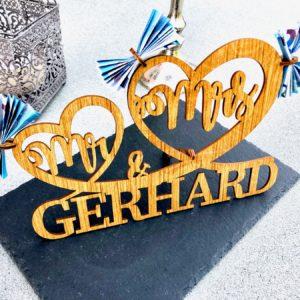 Geschenke Mr & Mrs – Geschenk zur Hochzeit aus Holz Groß