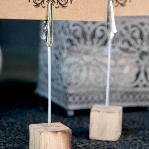 Dekoration 5 Tischkartenhalter Rustikal Geflammt mit Klammer
