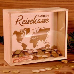 Einzug Lieblingskiste: Geldgeschenk als Spardose – zum Urlaub / zur Reise