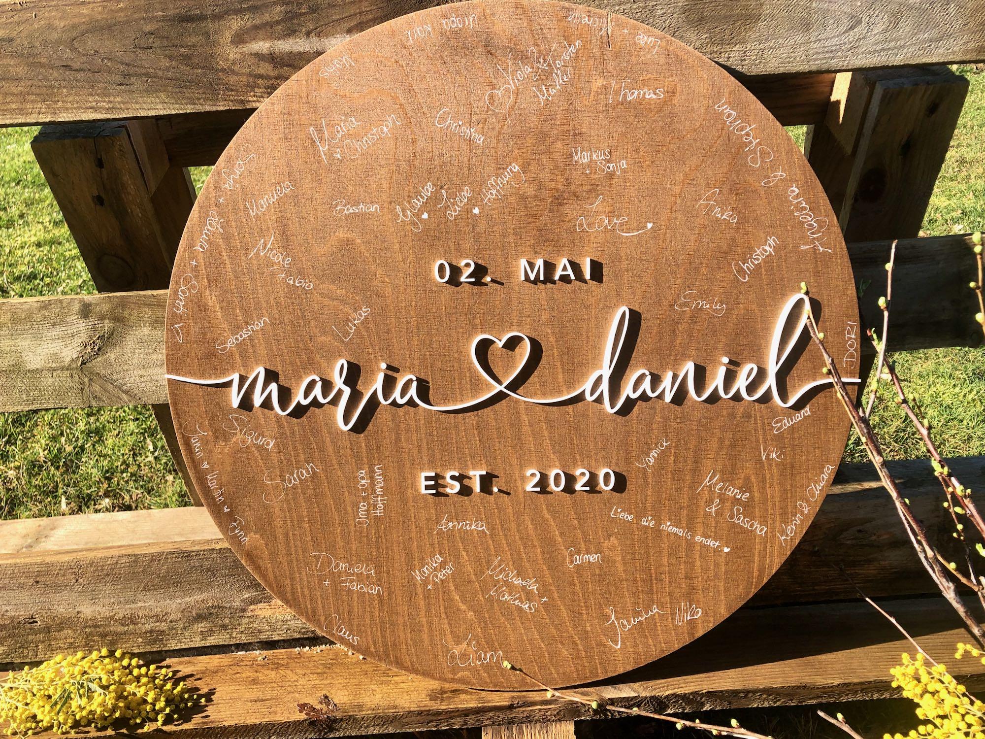 Hochzeit Rundes Gästebuch aus Holz