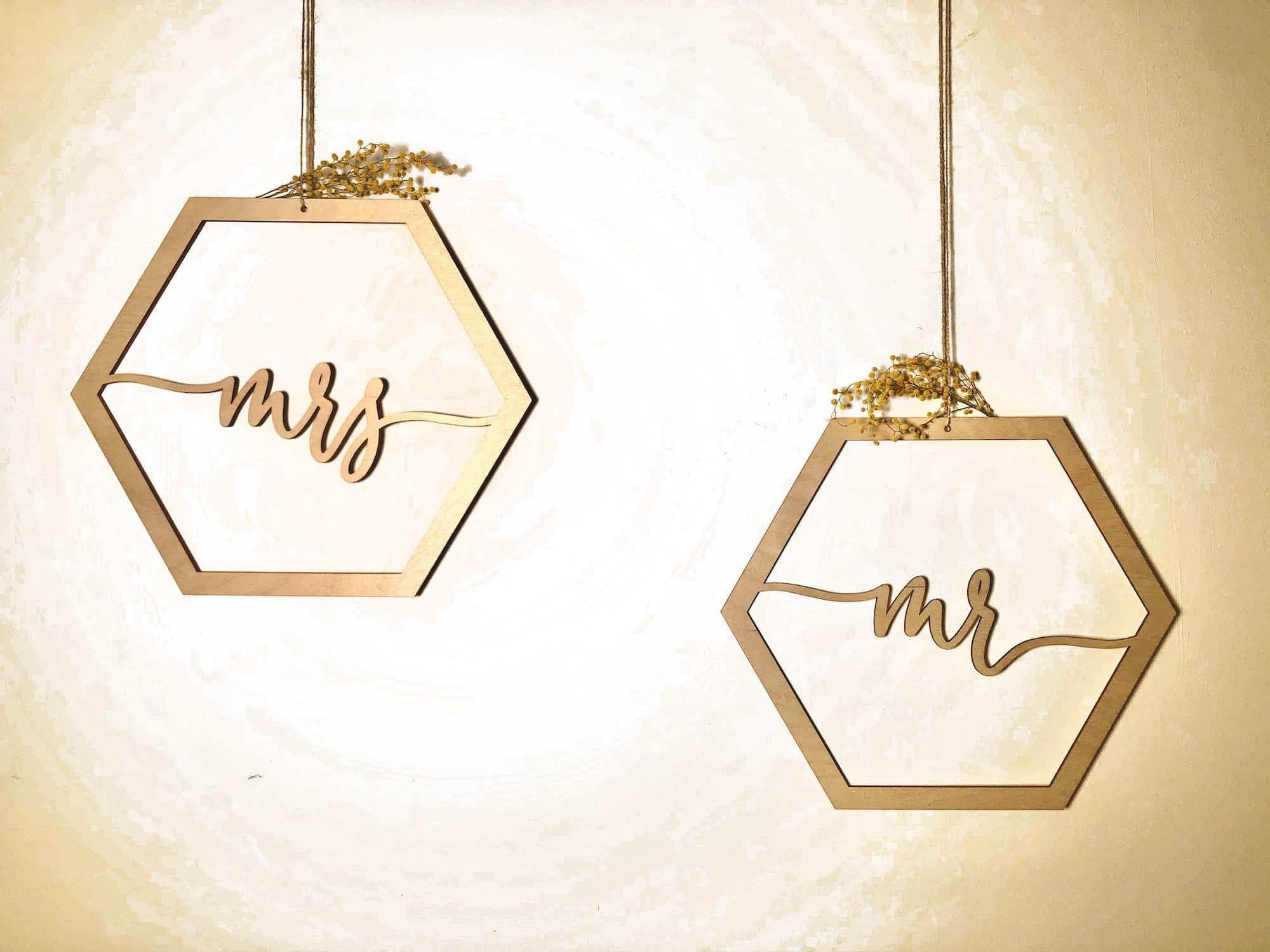 Stuhlanhänger Hochzeit aus Holz Mr & Mrs