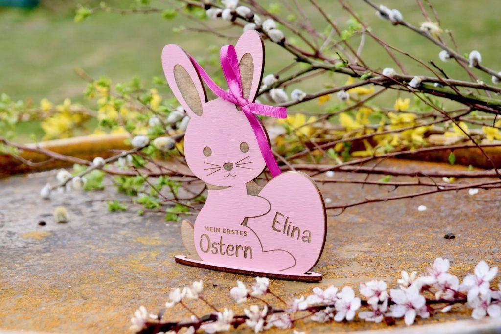 Mein erstes Ostern - Name graviert in Holz