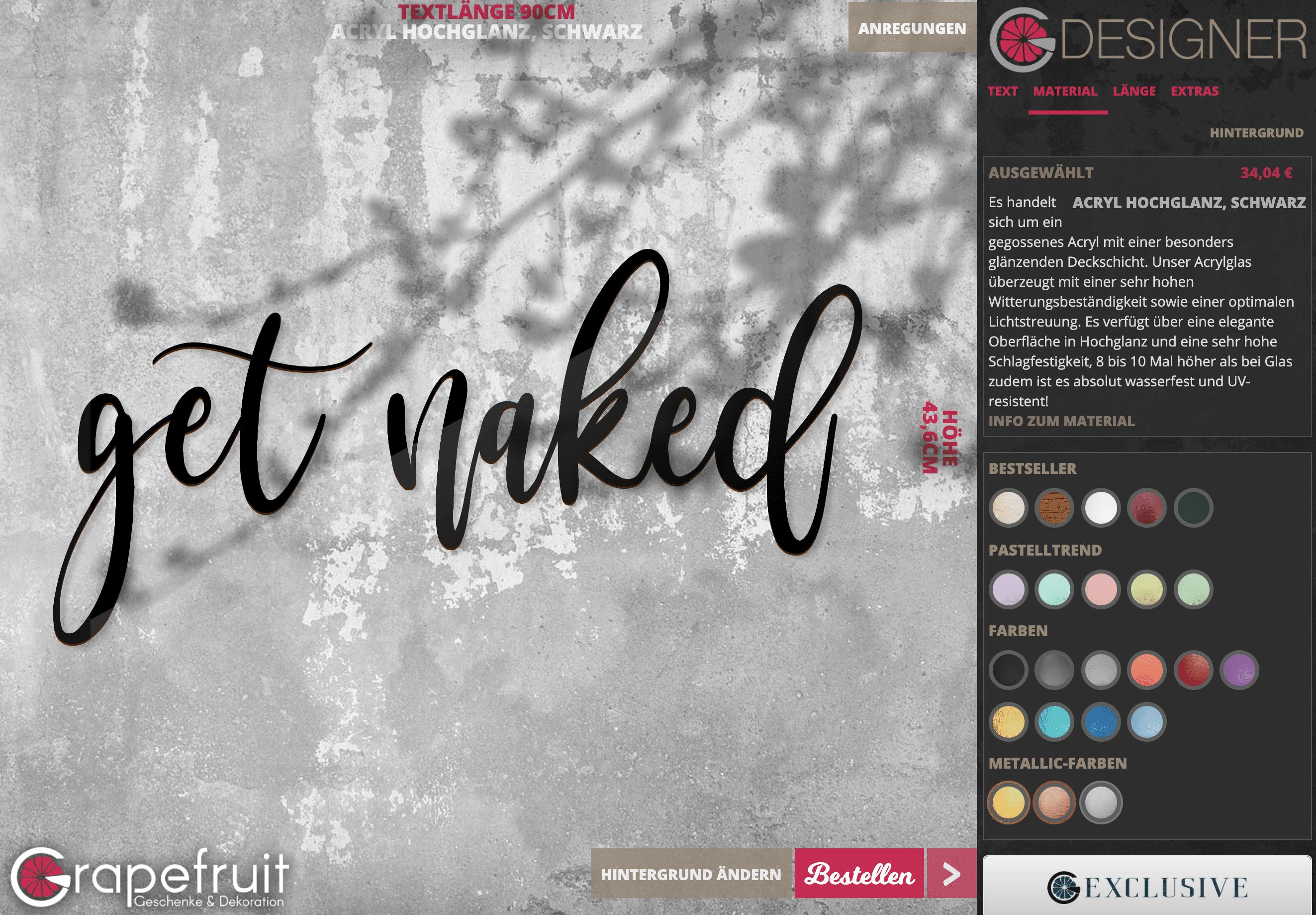 Badezimmer get naked – Schriftzug aus Holz zum Aufkleben in Wunschfarbe